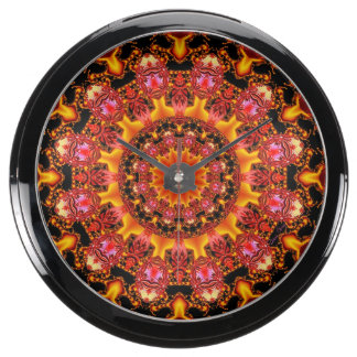 Glittering Gold Mandala, Abstract Red Orange Amber Aqua Clocks