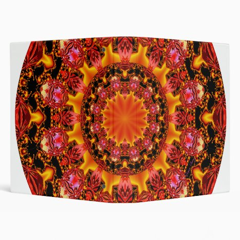 Glittering Gold Mandala, Abstract Red Orange Amber Binder