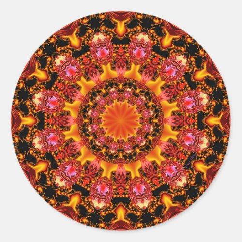Glittering Gold Mandala, Abstract Red Orange Amber Classic Round Sticker