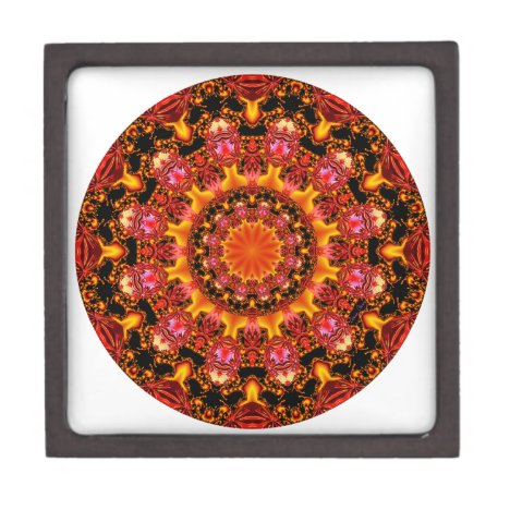 Glittering Gold Mandala, Abstract Red Orange Amber Gift Box