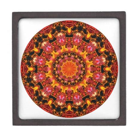 Glittering Gold Mandala, Abstract Red Orange Amber Gift Box