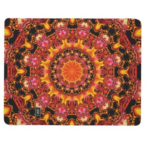 Glittering Gold Mandala, Abstract Red Orange Amber Journal