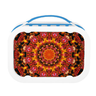 Glittering Gold Mandala, Abstract Red Orange Amber Yubo Lunchboxes