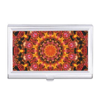 Glittering Gold Mandala, Abstract Red Orange Amber Business Card Holder