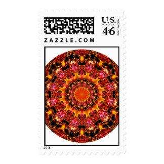 Glittering Gold Mandala, Abstract Red Orange Amber Stamp