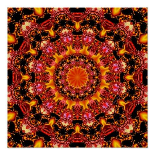 Glittering Gold Mandala, Abstract Red Orange Amber Poster