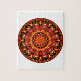 Glittering Gold Mandala, Abstract Red Orange Amber Puzzles