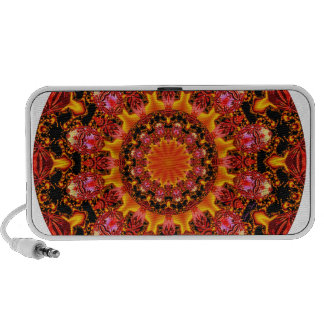 Glittering Gold Mandala, Abstract Red Orange Amber Laptop Speakers