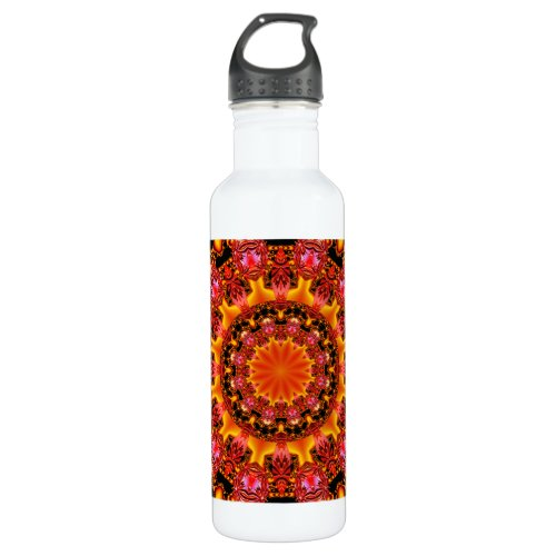 Glittering Gold Mandala, Abstract Red Orange Amber Stainless Steel Water Bottle