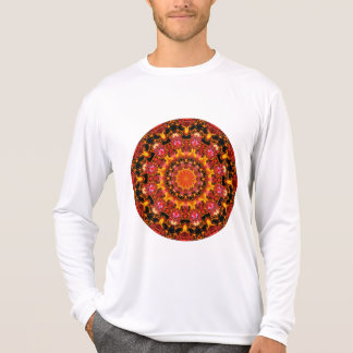 Glittering Gold Mandala, Abstract Red Orange Amber T-Shirt