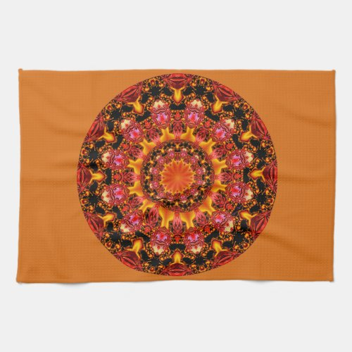 Glittering Gold Mandala, Abstract Red Orange Amber Towel