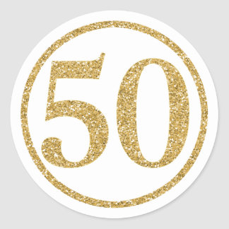 Glittering Gold Number 50 Anniversary Classic Round Sticker
