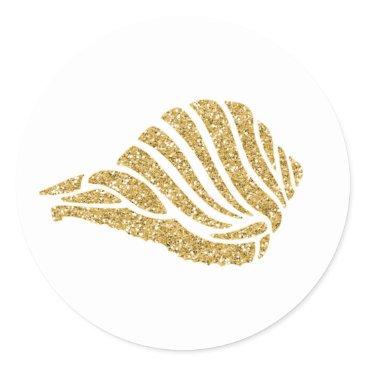 Beach Themed Glittering Gold Sea Shell Classic Round Sticker