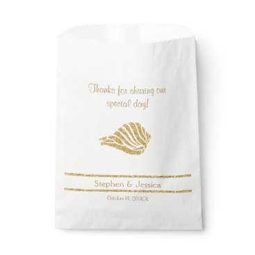 """Beach Themed Glittering Gold """"Thanks...Sharing Our Day"""" Favor Bag"""