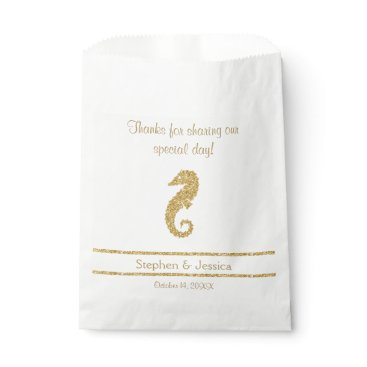 "Beach Themed Glittering Gold ""Thanks...Sharing Our Day"" Favor Bag"