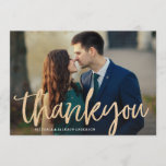 "Glittering Gold Wedding Thank You Card<br><div class=""desc"">This design features a beautiful flowing romantic lettered faux gold glitter script font.</div>"