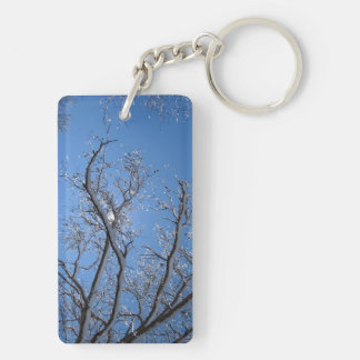 Glittering Ice and Snow Covered Trees Keychain
