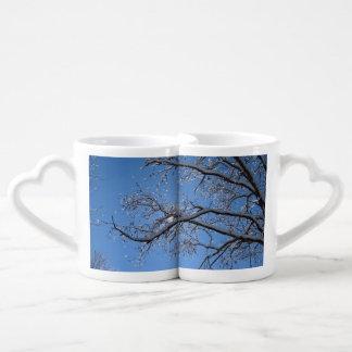 Glittering Ice Snow Covered Tree Couples Coffee Mug