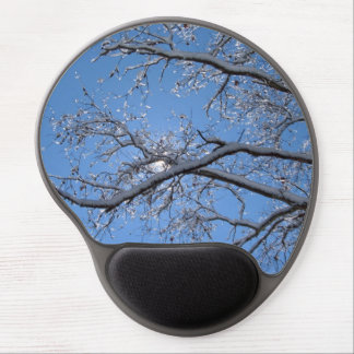 Glittering Ice Snow Covered Tree Gel Mouse Pad