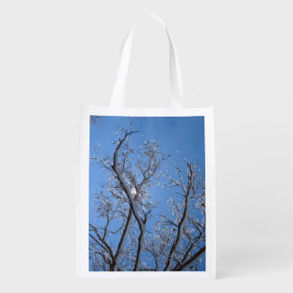 Glittering Ice Snow Covered Tree Grocery Bag