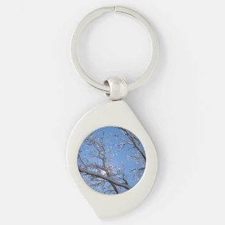 Glittering Ice Snow Covered Trees Key Chains