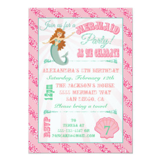 Glittering  Mermaid Birthday Party Invitation