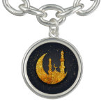 Glittering mosque and moon silver Charm Bracelet