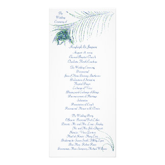 Glittering Peacock Wedding Program Rack Card