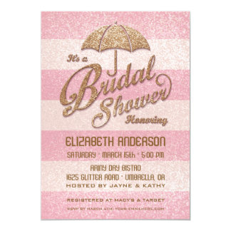 "Glittering Pink Bold Stripes Bridal Shower Invite 5"" X 7"" Invitation Card"