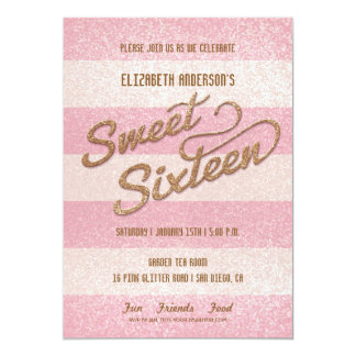 "Glittering Pink Bold Stripes Sweet Sixteen Party 5"" X 7"" Invitation Card"