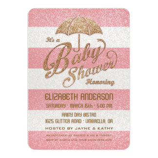 "Glittering Pink & Gold Baby Girl Shower Invite 4.5"" X 6.25"" Invitation Card"