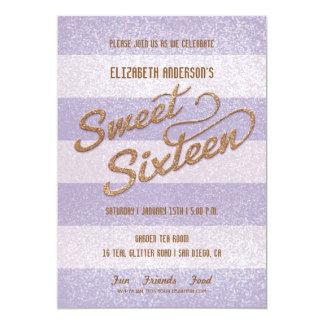 "Glittering Purple Bold Stripes Sweet Sixteen Party 5"" X 7"" Invitation Card"