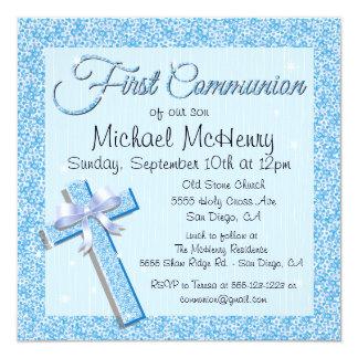 """Glittering Sequin Blue First Communion Invitation 5.25"""" Square Invitation Card"""