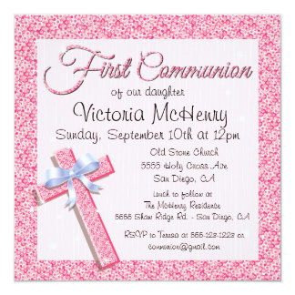 Glittering Sequin Pink First Communion Invitation