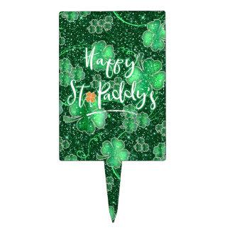 Glittering Shamrocks Happy St. Paddy's ID289 Cake Topper