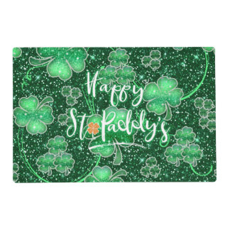 Glittering Shamrocks Happy St. Paddy's ID289 Placemat