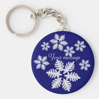 Glittering snowflake keychains