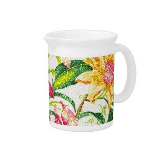 Glittering Spring Floral Tapestry Beverage Pitcher