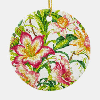 Glittering Spring Floral Tapestry Ceramic Ornament