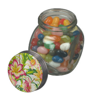 Glittering Spring Floral Tapestry Glass Candy Jars