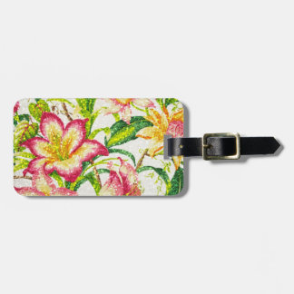 Glittering Spring Floral Tapestry Luggage Tag