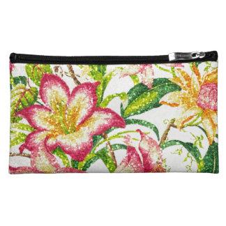 Glittering Spring Floral Tapestry Makeup Bag