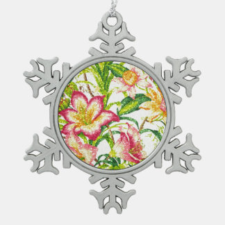 Glittering Spring Floral Tapestry Snowflake Pewter Christmas Ornament