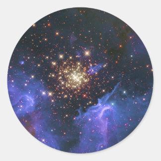 Glittering Star Cluster and Interstellar Gas Cloud Classic Round Sticker