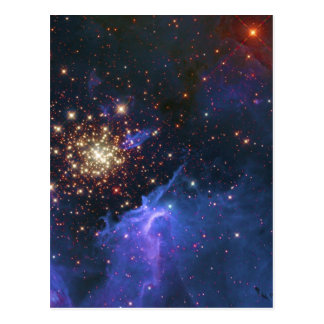 Glittering Star Cluster and Interstellar Gas Cloud Postcard