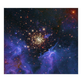 Glittering Star Cluster and Interstellar Gas Cloud Poster