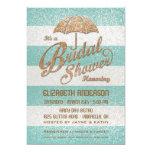 Glittering Teal Bold Stripes Bridal Shower Invite