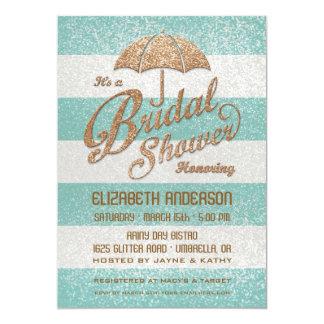 "Glittering Teal Bold Stripes Bridal Shower Invite 5"" X 7"" Invitation Card"