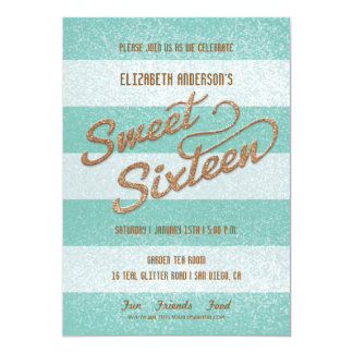 """Glittering Teal Bold Stripes Sweet Sixteen Party 5"""" X 7"""" Invitation Card"""