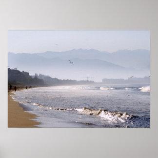 Glittering Waves on Bucerias Beach Poster